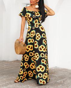 Off Shoulder Sunflower Print Maxi Dress - Chic Dresses Tube Maxi Dresses, Backless Maxi Dresses, Maxi Dress With Slit, Bodycon Dress, Women's Fashion Dresses, Casual Dresses, Floral Dresses, Sunflower Print, Sunflower Dress