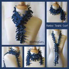 Bamboo Tendrils - Cobalt Blue Crochet Scarf Lariat by KnittingGuru.