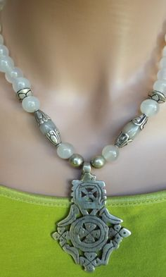 Moonstone and Ethiopian Coptic Cross Necklace. $90.00, via Etsy.
