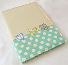 A5 Embroidered  fabric notebook cover   with A5 by teenywhitedaisy, $25.00