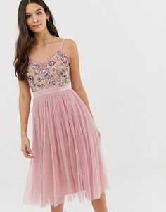 Buy Maya cami strap contrast embellished top tulle detail midi dress in vintage rose at ASOS. With free delivery and return options (Ts&Cs apply), online shopping has never been so easy. Get the latest trends with ASOS now. Lace Top Jumpsuit, Lace Midi Dress, Tulle Dress, Embellished Bridesmaid Dress, Embellished Top, Maya, Asos Vintage, Vintage Rosen, Motifs Roses