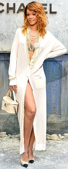 Rihanna at Chanel Couture ... because how many of us can wear a cardigan and look like that?