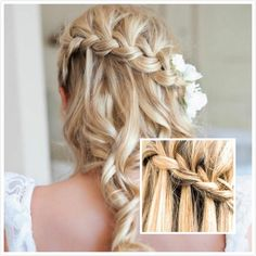 Wedding Hairstyles Bridesmaids Braids, Wedding Hair With Box Braids, Wedding Hair Braid Curls, Wedding Hairstyles Curly Braid, Casual Wedding Hair Braids, Crochet Braids Wedding Hair, Wedding Hair Braid Down, Wedding Day Hair Braids, Wedding Hairdo With Braids, Wedding Hairstyles For Braids, Hair Braids For Wedding, Wedding Hair Braid Flowers