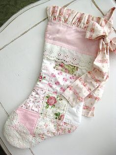 Shabby chic Christmas stocking made from a vintage quilt.