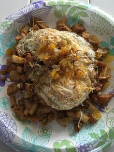 3/29/16 Today Breakfast!! Fried over easy eggs served on ah bed of fried potatoes, bell peppers and onions.