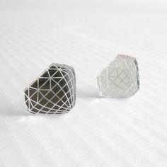Silver Diamond Earrings  Laser Cut Mirror Acrylic by seequin, $5.00
