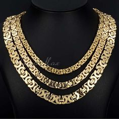 Gold Tone Flat Byzantine Stainless Steel Necklace Men's Boys Chain