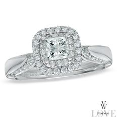 Vera Wang LOVE Collection 7/8 CT. T.W. Princess-Cut Diamond Double Frame Engagement Ring in 14K White Gold - Gordon's Jewelers