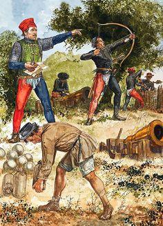 Alfonso's Neapolitan Campaigns: • Aragonese artilleryman with light bombard, 1440s  • Italian bowman  • Galley sailor