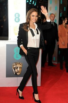 BAFTA Awards 2014 // Angelina Jolie in a Saint Laurent suit