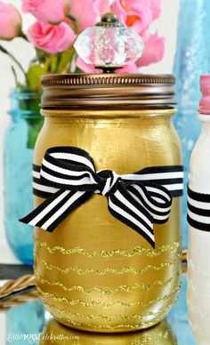 Paint and Sparkle Mason Vanity Jars