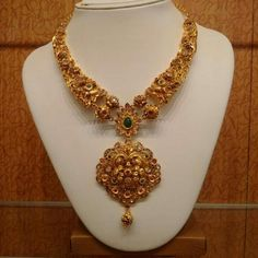 Gold Antique Necklace Designs From P. Coral Jewelry, Wedding Jewelry, Gold Temple Jewellery, Antique Necklace, Antique Jewellery, Necklace Designs, Indian Jewelry, Jewelry Design, Jewels