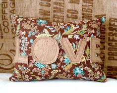 burlap accent pillow.