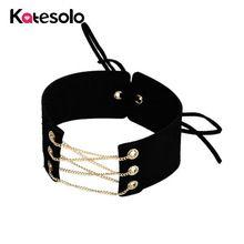 Vyhlásenie očarujúce čierne biele sametové čokoládové chladné zlaté reťaze Sexy náhrdelník Link reťazec čipka hore Chokers náhrdelníky Chocker nové (Čína)
