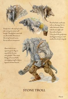 Troll 7 of 7 for a college project called 'Write your own brief'. As the title suggests we got to do anything we want. I chose to do a study on trolls entitled 'Trolls Unabridged - A Guide to Troll... Mythical Creatures Art, Mythological Creatures, Magical Creatures, Fantasy Creatures, Creature Concept Art, Creature Design, Myths & Monsters, Dnd Monsters, Legends And Myths