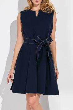 FX1984 Sleeveless A Line Dress With Belt