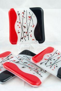 Red black confetti fused glass coasters