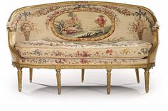 A FRENCH GILTWOOD AND AUBUSSON TAPESTRY CANAPE EN CORBEILLE