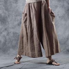 Buy Comfy Ramie Khaki Pants Womans Plus Size Genie Pants in Pants online shop, Morimiss offers Pants to make you feel comfortable Wide Leg Pants, Khaki Pants, Blouses For Women, Pants For Women, Genie Pants, Balloon Pants, Boho Fashion, Fashion Outfits, Bohemian Mode