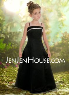 Junior Bridesmaid Dresses - $74.99 - A-Line/Princess Strapless Floor-Length Satin Junior Bridesmaid Dresses With Sash  None (009000699) http://jenjenhouse.com/A-line-Princess-Strapless-Floor-length-Satin-Junior-Bridesmaid-Dresses-With-Sash--None-009000699-g699