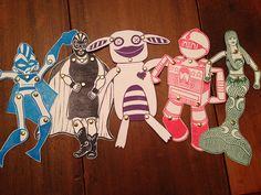 Poseable articulated jointed paper dolls I made from hand carved rubber stamps: JackBear Stamps