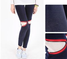 Korean Women's Corduroy Leggings Cute Pants Tights Unique Navy Ankle Detail   #corduroy #leggings