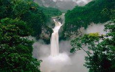příroda, vodopád, les, hory, voda, ráno, mlha
