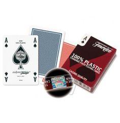 Plastic poker kaarten met een uitzonderlijk prettige feeling.   De Fournier kaarten zijn favoriet vele poker dealers.  Voorzien van standaard symbolen in 4 hoeken.