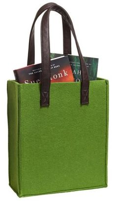 Basil Felt Tote with Leather Look Handles 11'' x 13'' x 4.5''