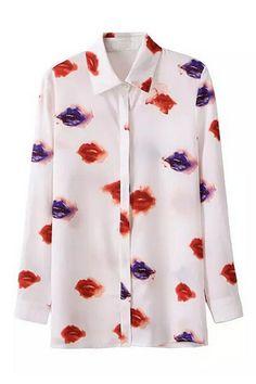 ROMWE | Asymmetric Lip Print Shirt