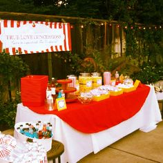 Concession stand for backyard movie night