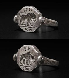 Byzantine, Reversible ring engraved with a lion and a bear, 6-7th century (source).