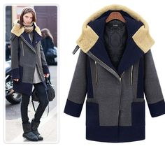 Plus Size Turn Down Color Splicing Long Wool Coat - Oh Yours Fashion - 2
