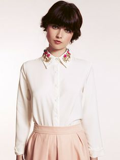 White Harriet Jewel Embellished Collar Blouse | Dahlia