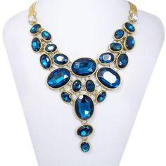 VTG-Gold-Tone-Inspired-Oval-Bib-Bubble-Chunky-Necklace-Blue-Swarovski-Crystal