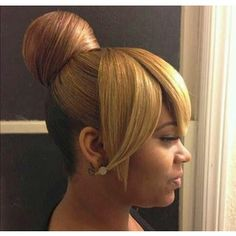 bun and bang hairstyles for black women - Google Search | Gorgeous Hair | Pinterest