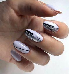Stylish Nails, Trendy Nails, Cute Nails, Grey Nail Designs, Gel Nail Art Designs, Elegant Nail Art, May Nails, Tribal Nails, Geometric Nail