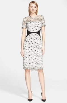 """Free shipping and returns on Lela Rose Corded Lace Sheath Dress at Nordstrom.com. <p><B STYLE=""""COLOR:#990000"""">Pre-order this style from the Pre-Fall 2015 collection! Limited quantities. Ships as soon as available. You'll be charged only when your item ships.</b></P><br>Classic elegance with a graphic update, solid insets visually slim the waist and ground the look of a long and lean sheath overlaid in delicate, illustrative lace."""