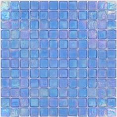 Baby Blue- Blue 1'' x 1'' Glass Glossy & Iridescent Tile
