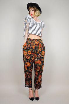 GARDEN ROSE High waist 80's Trouser /// NOIROHIO VINTAGE