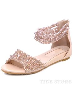 Dazzling Champagne Beadings Strap Low Heel Sandals With Zipper : tidestore.com