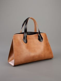 Marni   Description:  Brown leather tote from Marni featuring two contrasting black top handles, four protective metal feet and an interior press stud fastening pocket with a sticthed signature logo tag.  Item ID:10310261  Boutique:  Julian Fashion, Milano Marittima, Italy  Size:  Measurements: depth: 13 centimetres, height: 24 centimetres, width: 40 centimetres, handle: 14 centimetres  Composition:  Outer composition: polyurethane 100%  Brand Style ID: SHMPL06Y01 TP289  PRICE:$399.64