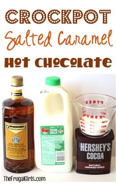 Crockpot Salted Caramel Hot Chocolate Recipe From It's The Perfect Mix Of Sweet And Salty, Great For Parties And Holiday Gatherings, Too Crock Pot Slow Cooker, Crock Pot Cooking, Slow Cooker Recipes, Crockpot Recipes, Cooking Recipes, Crockpot Drinks, Crockpot Dishes, Diabetic Recipes, Cooking Tips