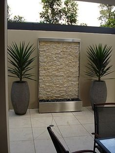 Water features, fountains, outdoor furniture and indoor fountain features made from stainless steel, copper, glass and acrylic. Backyard Patio, Backyard Landscaping, Pergola Patio, Landscaping Ideas, Nice Backyard, Pavers Patio, Patio Stone, Modern Pergola, Patio Plants