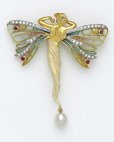 A diamond, ruby, cultured pearl, enamel and eighteen karat gold brooch, Masriera in the form of a winged lady, her wings set with plique-à-jour enamel, accented with round brilliant-cut diamonds and round faceted rubies, her body decorated with pearlescent enamel, suspending a cultured pearl; signed Masriera