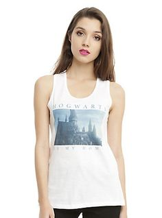 Harry Potter Hogwarts Is My Home Girls Tank Top, WHITE