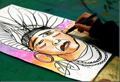 Native American Indian portraits multi-cultural elementary art pastels paint