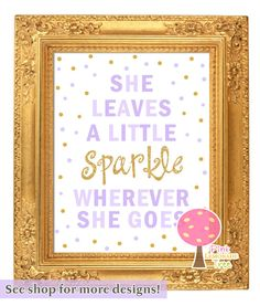Printable wall art - She leaves a little sparkle wherever she goes - Pink and gold - Birthday party - Nursery decor - Customizable Gold First Birthday, Purple Birthday, Glitter Birthday, Gold Birthday Party, Golden Birthday, 40th Birthday Parties, Third Birthday, It's Your Birthday, Birthday Party Invitations