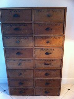 I love primitive spice and apothecary drawers.