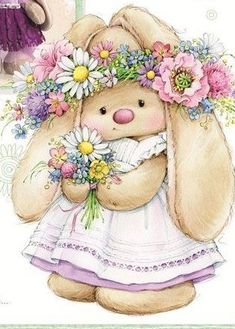 Bunny With Flower Headband And Holding A Flower Bouquet Illustration Noel, Cute Animal Illustration, Tatty Teddy, Bunny Art, Cute Bunny, Cute Images, Cute Pictures, Decoupage, Cute Clipart